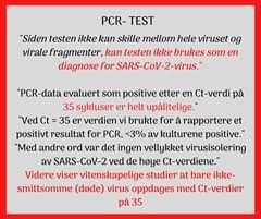 Vår regjering om pcr testen