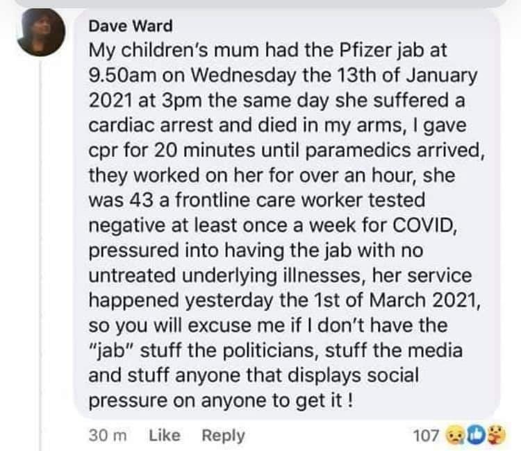 Dead of vaccine